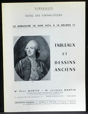 Catalogue vente Versailles Paul Martin 30 juin 1974 Tableaux modernes Dentelles