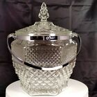 Anchor Hocking WEXFORD Pressed Glass Ice Bucket w Lid and Metal Handle Vintage