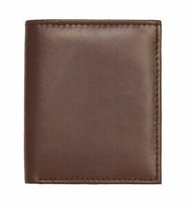 MENS RFID BLOCKING SOFT GENUINE LEATHER CREDIT CARD HOLDER CASE WALLET BROWN 122