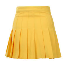 Fashion Woman Yellow Lovely Sexy High Waist Ball Tennis Pleated Skirt S P9D4