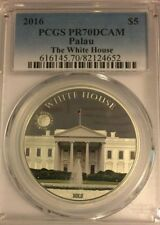 2016 $5 Silver PCGS PR 70 DCAM PALAU The White House - Colorized .925 Sterling