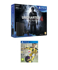 Sony PlayStation 4 500GB Black Slim Console With Uncharted 4 & FIFA 17