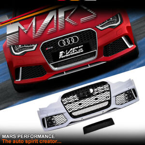 RS6 Style Front Bumper Bar & Grill Grille for AUDI A6 S6 C7 2011-2014 Bodykit