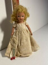 Nancy Ann Storybook Doll All Original Painted Bisque Cream Print Dress Cherry