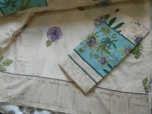 VINTAGE DOUBLE BED SHEET SET - FLORAL on CREAM - POLYESTER COTTON - USED SALE