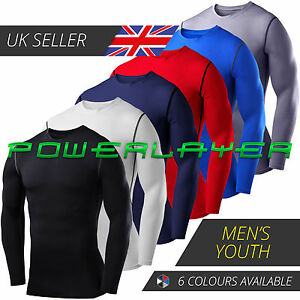 Compression Base Layer Mens' & Boys' PowerLayer Long Sleeve Gym Running Top
