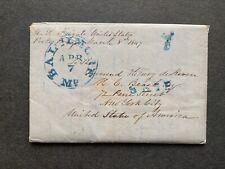 1847 USS UNITED STATES NAVY SHIP 4p LETTER PORTO PRAYA CAPE VERDE AFRICA SLAVERY