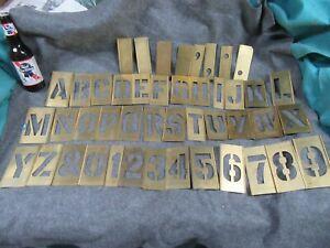 "Vtg Surplus Brass Stencil Set,3"" letters/figs,box,USA~NOS😎😎🤨#BS8.11.21.3"