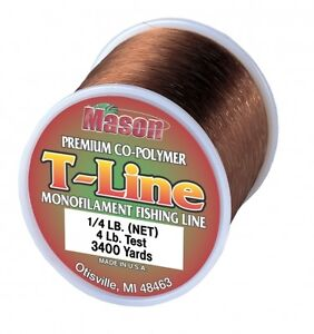 "Mason ""T-LINE"" Premium Co-Polymer Line 1/4lb Spools Soft-Brown 4lb - 30lb Test"