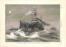 Bataille Navale Cuirassé la Framée Torpilleur Torpille Abordage GRAVURE 1900