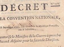 Révolution Décret 1566 Convention Nationale 1793 Ministre de la Guerre