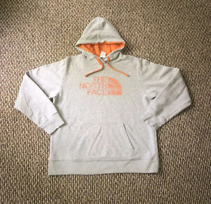 The North Face Men's Large Hooded Pullover Sweatshirt Gray, Orange Cotton Blend