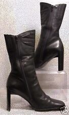 DIBA BLACK LEATHER MIDCALF BOOTS ZIP-UP FASHION ANKLE BOOTS SZ 7.5