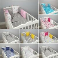 PILLOW BUMPER made from 6 cushions stars blue grey pink nursery for cot/cot bed