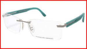Porsche Design P8232 S1 Satin Silver Teal Eyeglasses Frame Italy 59-16-140, 35