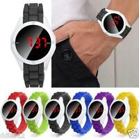 Fashion Waterproof Mens Watch LED Touch Screen Round Date Silicone Wrist Watch