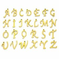 26Pc 304 Stainless Steel Alphabet Laser Cut Golden Letter Charms 10~14.5x4~14x1m