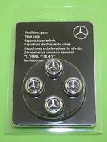 4 orig Mercedes Benz Ventil Zier Kappen schutz deckel silberfarben schwarz Stern