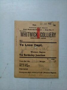 WHITWICK COLLIERY TO CHESTER LOCO DEPOT COAL WAGON LABEL  CIRCA 1949