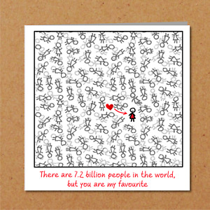 Love valentines day / birthday card for boyfriend girlfriend funny cute fun