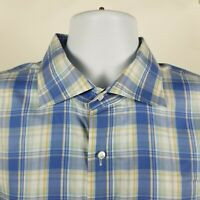 Peter Millar Collection Mens Blue Plaid Check Dress Button Shirt XL Extra Large