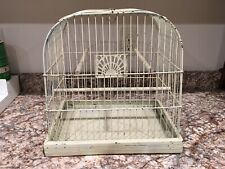 Vintage Crown Bird Cage Art Deco Shabby Farmhouse Off White