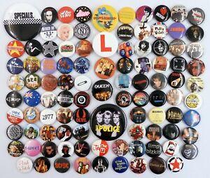 100 x MIXED BUTTON BADGES Pop / Metal / Rock / Punk Pin Badges * MOSTLY SECONDS