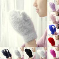 Women Fashion Knitted Gloves Soft Faux Rabbit Fur Gloves Winter Warmer Mittens