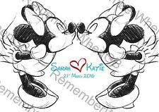Personalised Disney Mrs & Mrs Engagement Anniversary Lesbian Wedding Minnie LGBT