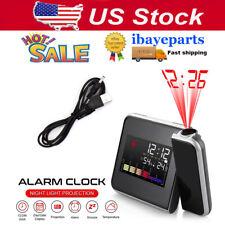 LED Digital Projection Alarm Clock Tempreture Meter LCD Display Calender Décor