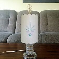 "Vintage  Mid Century 16 3/4 "" Crystal Lamp With Fiberglass Shade"