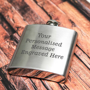 Personalised Engraved 6oz Hip Flask men's women's gift wedding WOW!!