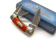 ROUGH RIDER Orange Smooth Bone CANOE 3 Blade Folder Folding Pocket Knife! RR383