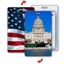 Lenticular Luggage Bag Travel Tag Capitol Building American Flag #LT01-225#