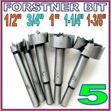 """5 pc Forstner Bit Size as 1/2"""", 3/4"""", 1"""", 1-1/4"""", 1-3/8"""" Set S"""