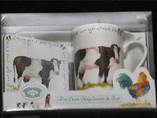 KENT POTTERY COW Ceramic Mug, Coaster & Tray NIB