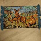 "Vintage Retro Wall Hanging Rug Tapestry Buck Stag & Doe Deer Blue Fringe 32""×21"""