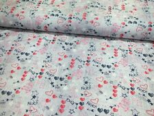 Hilco Baumwoll Jersey Trouble Tag grau meliert pink rot Meterware Kinderstoffe