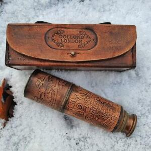 Brass Telescope with Leather Case Antique style Marine Vintage Spyglass Maritime