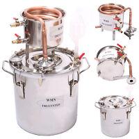 DIY Casa 10 Litri Alambicco Distillatore Temperatura Vapore Rame Acqua Vino Oli