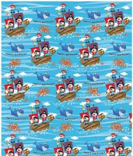 Children's Blue Pirate Birthday Gift Wrapping Paper - 1 Sheet & Matching Tag