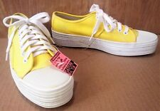 Vintage KEDS Women's Size 7 1/2 Platform SNEAKERS Yellow Shell Toe Shoes NEW 7.5