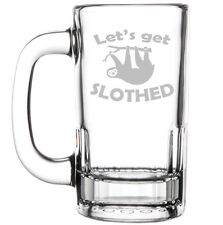 12oz Beer Mug Stein Glass  Let's Get Slothed Sloth Funny