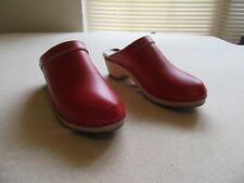 Womens Vintage Made in Denmark Leather and Wood Clogs Red Size 37