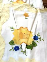 Vintage Handmade Yellow Spring Rose Applique Placemat & Napkin Set 8 READ