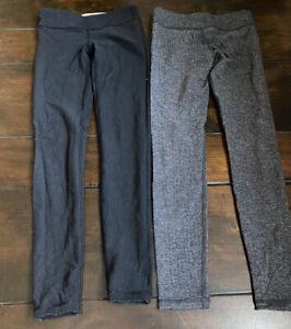 Lot Of 2 Ivivva Girls Sz 10 Leggings - Black Reversible /gray Herringbone