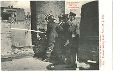 NYC FIREMEN HOSING RUINS -CLOSE-UP- FIRE INSURANCE NY UNDERWRITERS SERIES 1905