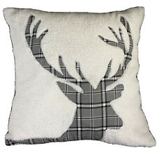 Martha Steward decorative pillow white brown plaid deer man cave decor 17 x 17