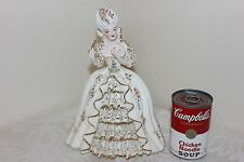 Florence Ceramics Marie Antoinette Figurine, White Dress, Gold Lace, Roses, 10""