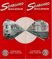 1962 Seaboard Railroad Time Table Travel Brochure Railway RR South Timetables